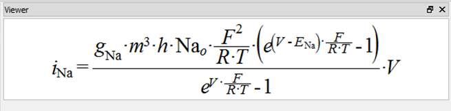 An example of the complex mathematics equations editable in OpenCOR.